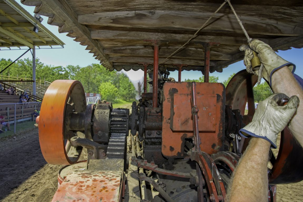 View of levers of a tractor